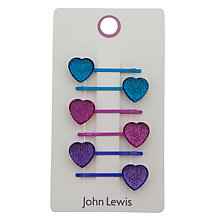 Buy John Lewis Girl Heart Hair Clips, Pack of 6, Multi Online at johnlewis.com