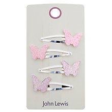 Buy John Lewis Girl Glitter Butterfly Hair Clips, Pack of 4, Multi Online at johnlewis.com