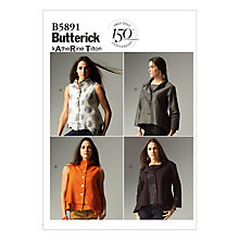 Buy Butterick Women's Top Sewing Pattern, 5891 Online at johnlewis.com