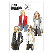Buy Butterick Women's Front Drape Vest & Jacket Sewing Pattern, 5928 Online at johnlewis.com
