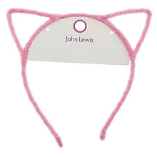 Buy John Lewis Children's Furry Cat Ears, Pink Online at johnlewis.com