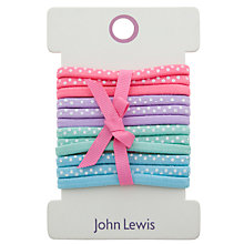 Buy John Lewis Girl Polka Dot Elastic Hairbands, Pack of 12, Multi Online at johnlewis.com