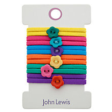 Buy John Lewis Girl Elastic Hairbands with Flower Shaped Buttons, Multi Online at johnlewis.com