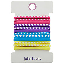 Buy Heart Print Elastic Hairbands, Pack of 12, Multi Online at johnlewis.com