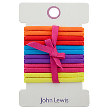 Buy John Lewis Girl Plain Elastic Hairbands, Pack of 12, Multi Online at johnlewis.com