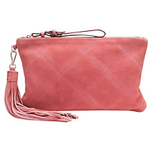 Buy Jigsaw Diamond Quilted Pouch Bag, Coral Online at johnlewis.com