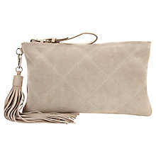 Buy Jigsaw Diamond Quilted Clutch Bag, Neutral Online at johnlewis.com