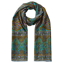 Buy Jigsaw Botanical Silk Scarf, Teal Online at johnlewis.com