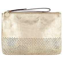Buy Jigsaw Perforated Clutch Bag, Gold Online at johnlewis.com
