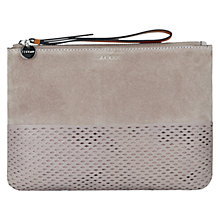 Buy Jigsaw Perforated Suede Clutch Bag, Mink Online at johnlewis.com