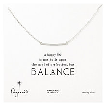 Buy Dogeared Sterling Silver Balance Medium Square Bar Necklace, Silver Online at johnlewis.com