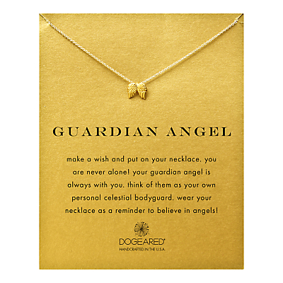 Dogeared 14ct Gold Plated Guardian Angel Wings Reminder Necklace, Gold