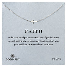 Buy Dogeared Sterling Silver Faith Sideways Cross Necklace, Silver Online at johnlewis.com
