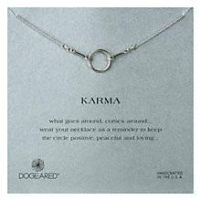 Buy Dogeared Sterling Silver Small Original Karma Necklace, Silver Online at johnlewis.com