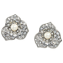 Buy Carolee Floral Stud Earrings, Silver/White Online at johnlewis.com