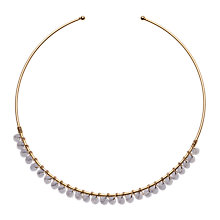 Buy Orelia Brass Bead Bangle, Blue Online at johnlewis.com