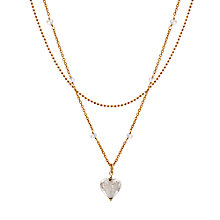 Buy Martick Murano Glass Gold Plated Double Chain Heart & Rose Necklace Online at johnlewis.com
