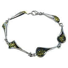 Buy Goldmajor Sterling Silver Green Amber Tulip Bracelet, Green/Silver Online at johnlewis.com