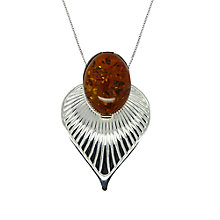 Buy Goldmajor Sterling Silver Amber Art Deco Pendant, Silver/Amber Online at johnlewis.com