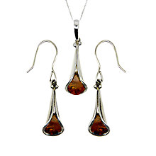 Buy Goldmajor Sterling Silver Amber Tulip Pendant and Earrings Set, Silver/Amber Online at johnlewis.com