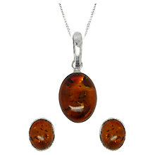 Buy Goldmajor Sterling Silver Amber Oval Pendant and Earrings Set, Silver/Amber Online at johnlewis.com