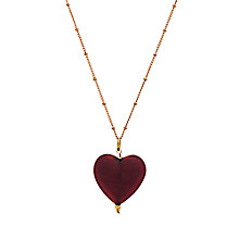 Buy Martick Murano Glass Gold Plated Frost Heart Necklace, Cranberry Online at johnlewis.com
