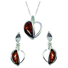 Buy Goldmajor Sterling Silver Amber Split Heart Pendant and Earrings Set, Silver/Amber Online at johnlewis.com