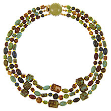Buy Eclectica Vintage 1950s Faux Aagte Beaded Necklace, Green/Brown Online at johnlewis.com