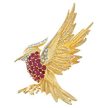 Buy Eclectica Vintage 1960s Boucher Gold Plated Faux Ruby Bird Brooch, Red Online at johnlewis.com