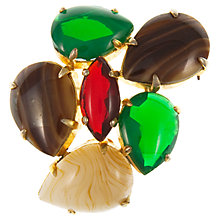 Buy Eclectica Vintage 1963 Christian Dior Gold Plated Glass Stone Brooch, Green/Brown Online at johnlewis.com