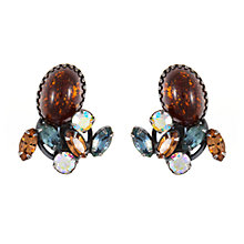 Buy Eclectica Vintage 1950s Weiss Swarovski Clip-On Earrings, Brown/Multi Online at johnlewis.com