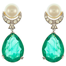 Buy Eclectica Vintage 1960s Panetta Faux Emerald Swarovski Crystal Drop Earrings, Green/Silver Online at johnlewis.com