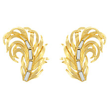 Buy Eclectica Vintage 1980s Trifari Gold Plated Swarovski Crystal Leaf Clip-On Earrings, Gold/White Online at johnlewis.com