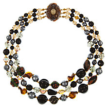 Buy Eclectica Vintage 1950s Gold Plated Three Row Beaded Necklace, Black Online at johnlewis.com
