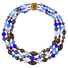 Buy Eclectica Vintage 1950s Gold Plated Venetian Glass Three Row Necklace, Blue Online at johnlewis.com