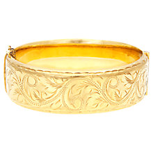 Buy Eclectica Vintage 1950s Gold Plated Engraved Hinged Bangle, Gold Online at johnlewis.com