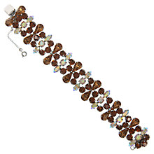 Buy Eclectica Vintage 1950s Chrome Plated Rhinestone Bracelet, Brown Online at johnlewis.com