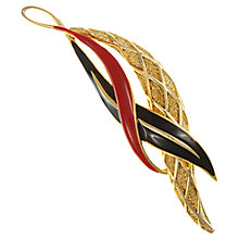 Buy Eclectica Vintage 1980s Balenciaga Gold Plated Enamel Brooch, Black/Red Online at johnlewis.com