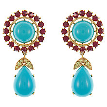 Buy Eclectica Vintage 1960s Trifari Gold Plated Faux Ruby Clip-On Earrings, Turquoise Online at johnlewis.com