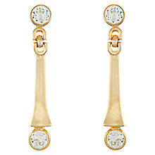 Buy Eclectica Vintage 1970s Christian Dior Gold Plated Swarovski Crystal Clip-On Earrings, Gold/White Online at johnlewis.com
