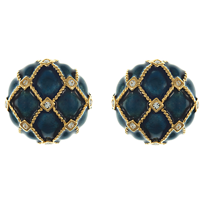 Eclectica Vintage 1980s Gold Plated Swarovski Crystal Enamel Clip-On Earrings, Blue/Gold