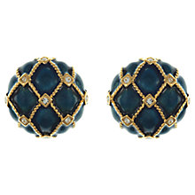 Buy Eclectica Vintage 1980s Gold Plated Swarovski Crystal Enamel Earrings, Blue/Gold Online at johnlewis.com