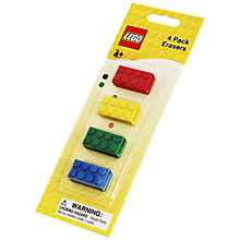 Buy LEGO Stationery Erasers, Pack of 4 Online at johnlewis.com