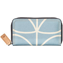 Buy Orla Kiely Etc Giant Linear Stem Print Big Zip Wallet, Sky Blue Online at johnlewis.com