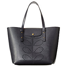 Buy Orla Kiely Textured Leather Tillie Tote Bag, Slate Online at johnlewis.com