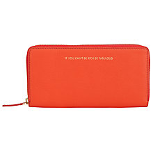 Buy COLLECTION by John Lewis Hayley 'If You Can't Be Rich Be Fabulous' Slogan Leather Zip Around Purse, Mango Online at johnlewis.com
