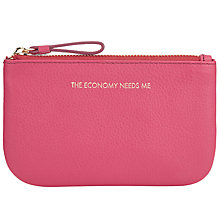 Buy COLLECTION by John Lewis Hayley 'The Economy Needs Me' Slogan Leather Coin Purse, Fuschia Online at johnlewis.com