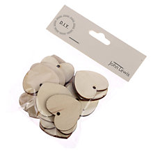 Buy John Lewis Wooden Heart, Pack of 20, Brown Online at johnlewis.com