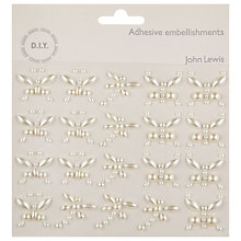 Buy John Lewis Butterfly & Dragonfly Adhesive Embellishments, Pearl Online at johnlewis.com