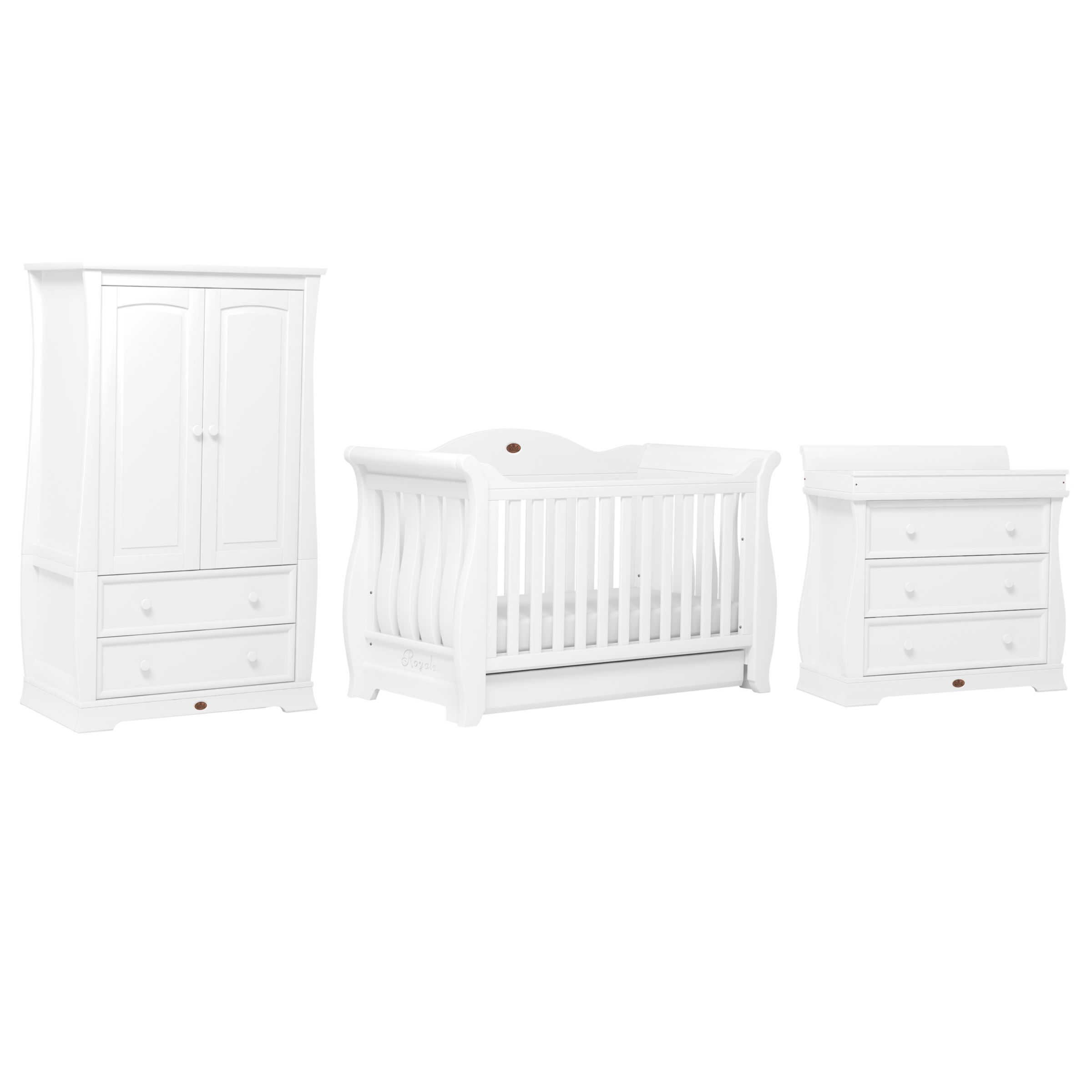 Boori Boori Sleigh Three Drawer Dresser, White